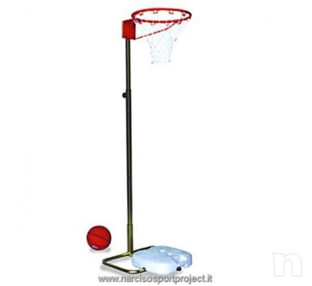 Canestro basket su colonna trasportabile, regolabile in altezza, acciaio zincato foto-11808