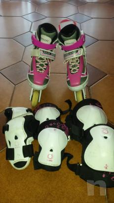 Pattini da bambina completi di tutte le protezioni usati pochissimo foto-31298