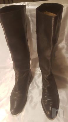 STIVALI vintage donna n° 40 pelle nera , interno nappa beige  foto-43013