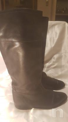 STIVALI vintage donna n° 40 pelle nera , interno nappa beige  foto-43010