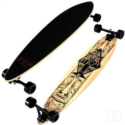 """Atom Longboard Bamboo Pin-Tail Longboard 39"""" Tiki  foto-430"""