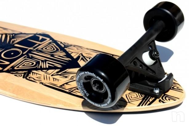 """Atom Longboard Bamboo Pin-Tail Longboard 39"""" Tiki  foto-464"""