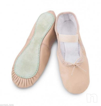 Scarpette danza classica pelle mezza punta ballerina foto-5442